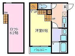JR仙石線 苦竹駅 徒歩5分の賃貸アパート 2階1Kの間取り