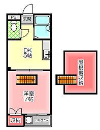 メイゾンIII 5階1DKの間取り