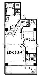 大阪府大阪市中央区松屋町住吉の賃貸マンションの間取り