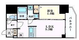 プレサンス北浜オリジン 2階1LDKの間取り