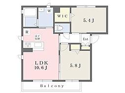 ディモアII 1階2LDKの間取り