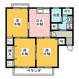 ツインタウンA B[2階]の間取り