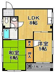 滝ハイツ千島[2階]の間取り