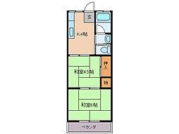 松田ハイツ 3階2Kの間取り