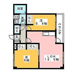 ハビテーション国府宮[2階]の間取り