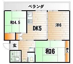 ビレッジハウス日明  2棟[5階]の間取り