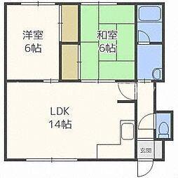 北海道札幌市中央区北三条西21丁目の賃貸アパートの間取り