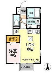 ディアコート富田 B 1階1LDKの間取り