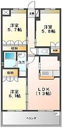 岡山県倉敷市連島中央4丁目の賃貸アパートの間取り