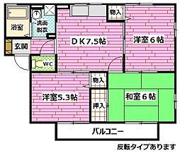 広島県広島市安佐南区山本3丁目の賃貸アパートの間取り