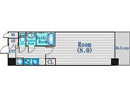 JR大阪環状線 野田駅 徒歩8分の賃貸マンション 7階1Kの間取り