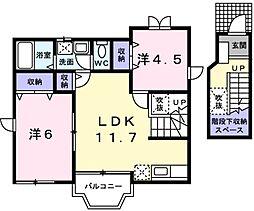 東京都日野市大字石田の賃貸アパートの間取り