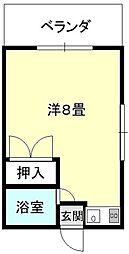 バス 小橋川下車 徒歩12分の賃貸アパート 1階ワンルームの間取り