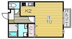 大阪府摂津市鳥飼野々1丁目の賃貸アパートの間取り