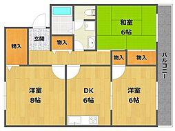 兵庫県伊丹市鴻池2丁目の賃貸アパートの間取り