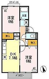 香川県高松市香川町川東下の賃貸アパートの間取り