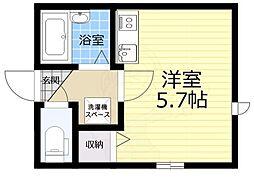 S casa 1階ワンルームの間取り