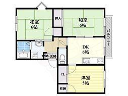 JR東海道・山陽本線 岸辺駅 徒歩13分の賃貸アパート 2階3DKの間取り