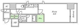 Osaka Metro堺筋線 北浜駅 徒歩7分の賃貸マンション 13階1DKの間取り