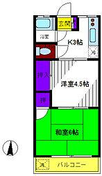 東京都東大和市奈良橋2丁目の賃貸アパートの間取り