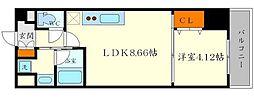 箕面pleasant 1階1LDKの間取り