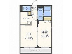 リッツグランデ東札幌 2階1LDKの間取り