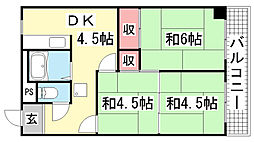 兵庫県神戸市北区鈴蘭台北町7丁目の賃貸マンションの間取り