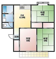 兵庫県加古郡播磨町西野添3丁目の賃貸アパートの間取り