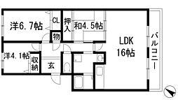 兵庫県伊丹市中野北2丁目の賃貸マンションの間取り