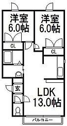 北海道札幌市西区発寒十二条3丁目の賃貸アパートの間取り