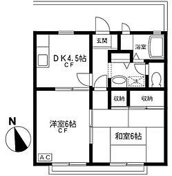 クレスト松江[2階]の間取り