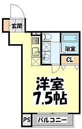 仙台市営南北線 北四番丁駅 徒歩9分の賃貸アパート 1階ワンルームの間取り