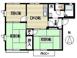 リバーサイドB[2階]の間取り