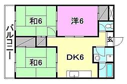 松山西ハイツ[707 号室号室]の間取り