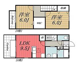 [テラスハウス] 千葉県四街道市もねの里3丁目 の賃貸【千葉県 / 四街道市】の間取り