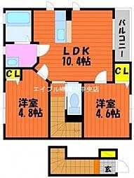 岡山県岡山市南区福島2丁目の賃貸アパートの間取り