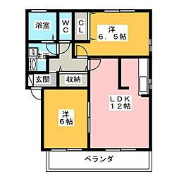 ボヌールB[2階]の間取り