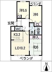 シャンブルクレール[3階]の間取り