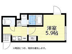 JR中央線 荻窪駅 徒歩7分の賃貸マンション 2階1Kの間取り