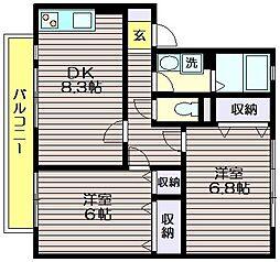 東京都三鷹市新川5の賃貸アパートの間取り