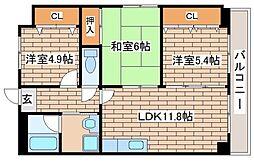 JR東海道・山陽本線 灘駅 徒歩1分の賃貸マンション 4階3LDKの間取り