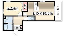 愛知県名古屋市守山区大森4の賃貸アパートの間取り