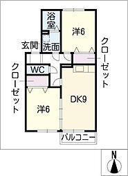 ホクト B[2階]の間取り