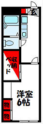 レオパレスドミール横田 2階1Kの間取り