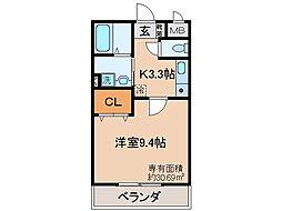 JR奈良線 JR藤森駅 徒歩6分の賃貸マンション 2階1Kの間取り