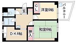 愛知県名古屋市昭和区花見通2丁目の賃貸マンションの間取り