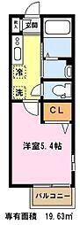 埼玉県川口市新井宿の賃貸アパートの間取り