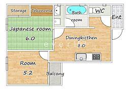 ヤマトコーポ[2階]の間取り