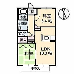 広島県福山市蔵王町5丁目の賃貸アパートの間取り