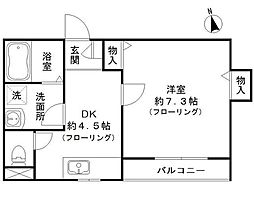 東京都大田区蒲田1丁目の賃貸アパートの間取り